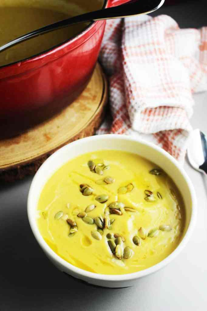 Roasted pumpkin pear soup in a bowl