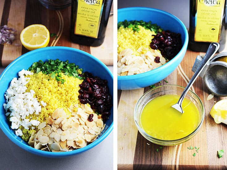 Ingredients for curried couscous salad in a large blue bowl with a small bowl of lemon dressing