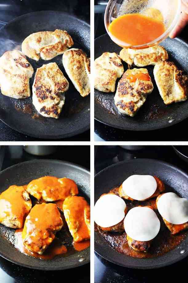 Chicken breasts being pan fried and smothered in Buffalo wing sauce and cheese for Buffalo chicken breast burgers