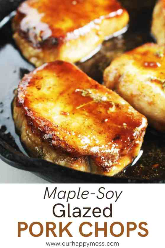 Maple soy glazed pork chops in a cast iron skillet