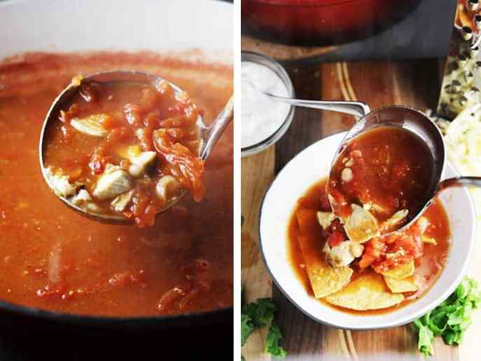 chicken tortilla soup in a dutch oven with closeup of a ladleful. Next to it, same soup being poured over tortilla chips in a bowl.