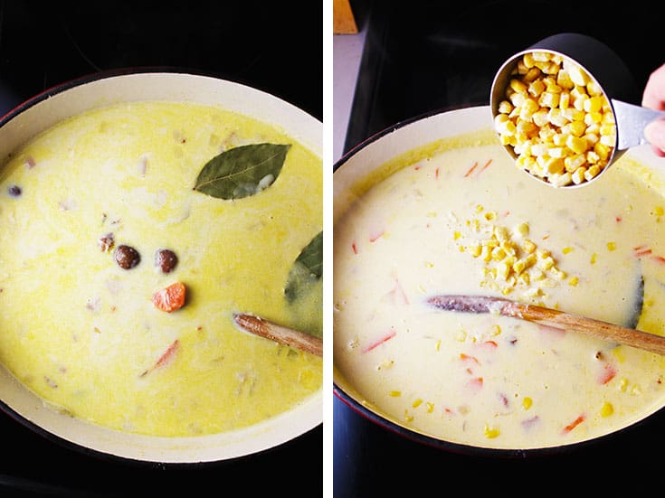 Potato chowder with ham simmering in a dutch oven, and with corn being added