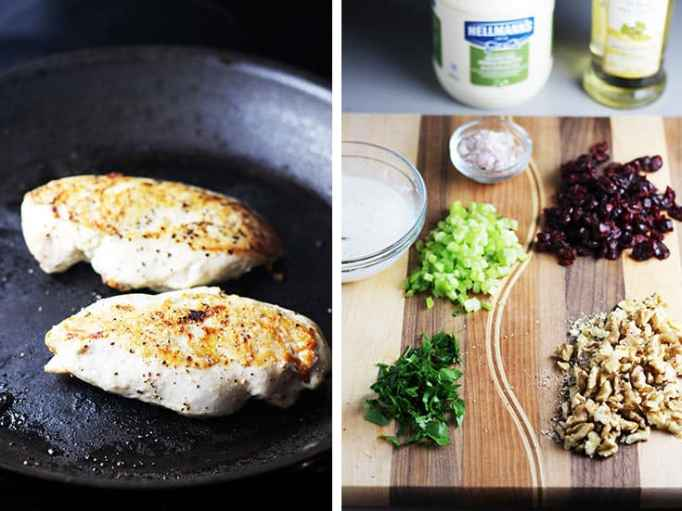 pan-fried chicken breasts in a skillet and chopped ingredients for chicken salad on a cutting board