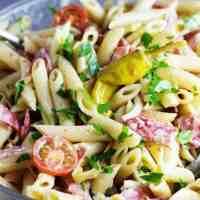 Closeup of Italian pasta salad in a large bowl