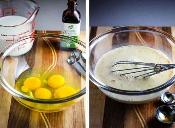 four raw eggs in a bowl, and wisked with milk and vanilla