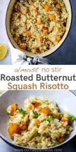 Butternut squash risotto in a bowl and in a dutch oven