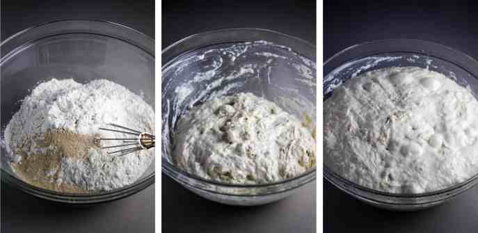 Focaccia dough being mixed together, and rising