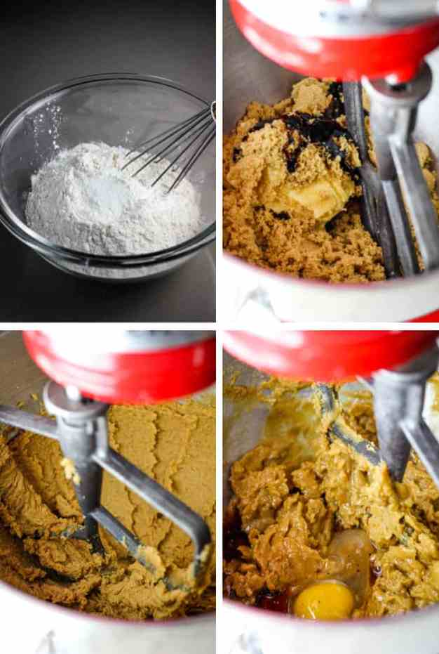 Four process images for making chocolate chip cookie dough