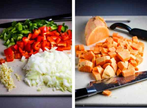 Onions, bell peppers, and garlic chopped on a cutting board, next to an image of sweet potatoes cubed on a cutting board