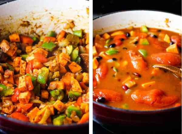Vegetables in a dutch oven, combined with spices, and with canned tomatoes and broth added