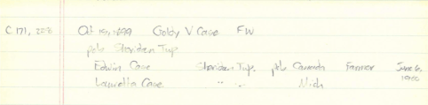 Goldy V Case birth record notes, circa 1980
