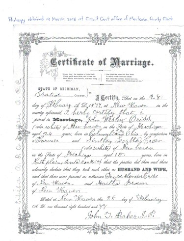 Marriage certificate, Wesley and Loretta Criss