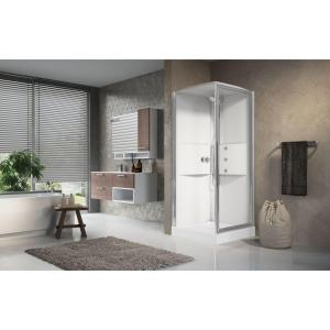 Cabina doccia idromassaggio quadrata 80x80 porta battente e lato fisso Media 2.0