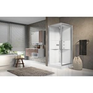 Cabina doccia idromassaggio quadrata 90x90 porta battente e lato fisso Media 2.0