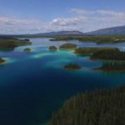 Aerial view of Boya Lake, BC looking North