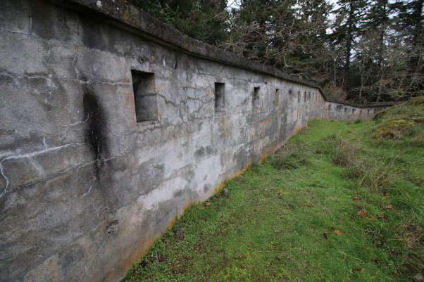 The defensive wall of the Upper Battery at Fort Rodd Hill