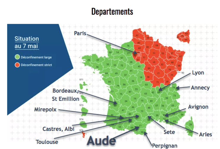Map of French departments Coming out of Confinement in Carcassonne
