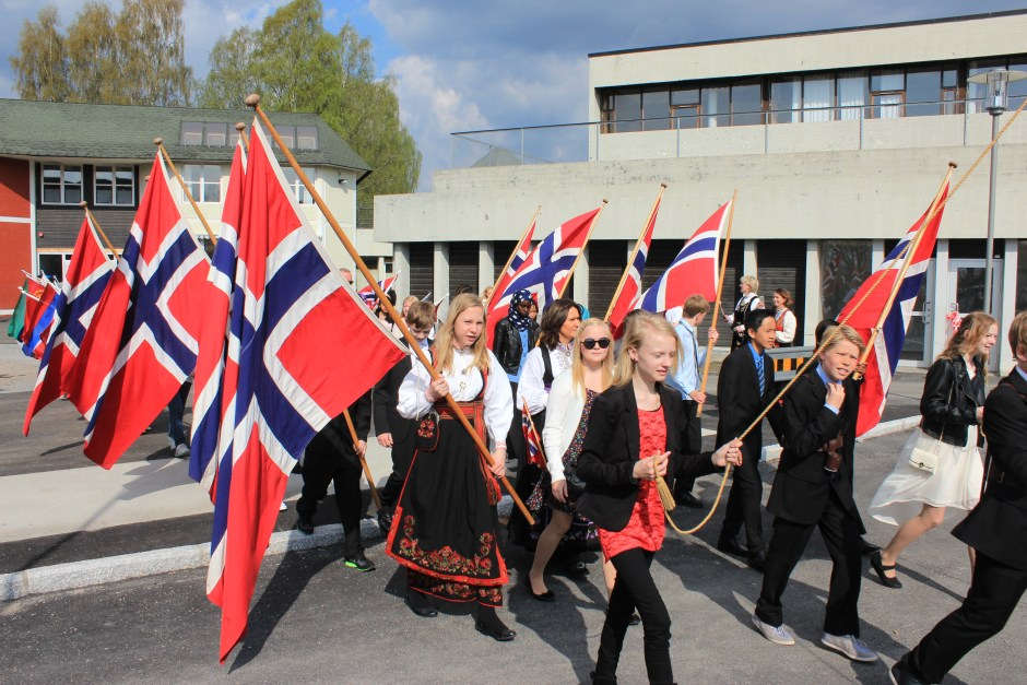 Children marching from school Skien Norwegian Constitution Day