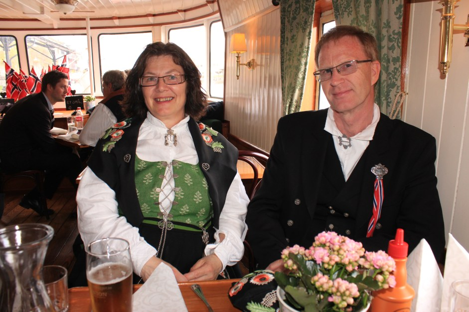 My cousins Vibeke and Reidulf at lunch on MS Victoria Norwegian Constitution Day