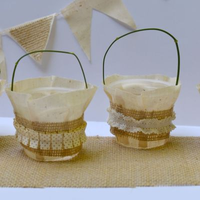 Burlap Crafts: Repurposed Pudding Cup Baskets