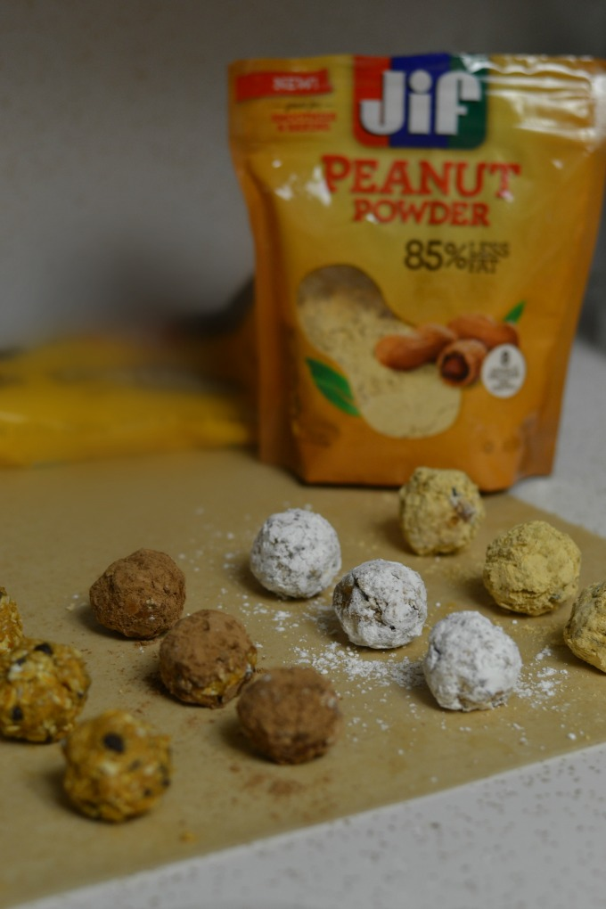 Peanut butter protein balls coated with Jiff powder