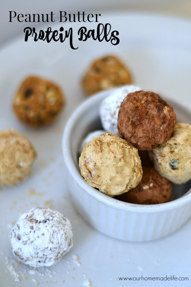 Peanut butter protein balls title horizontal