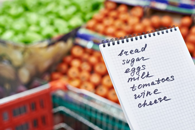 shopping list, grocery list