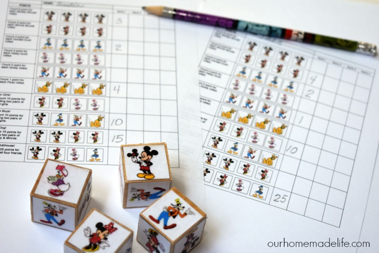 DIY Mickey Dice Game With Downloadable Printable - OurHomemadelife.com