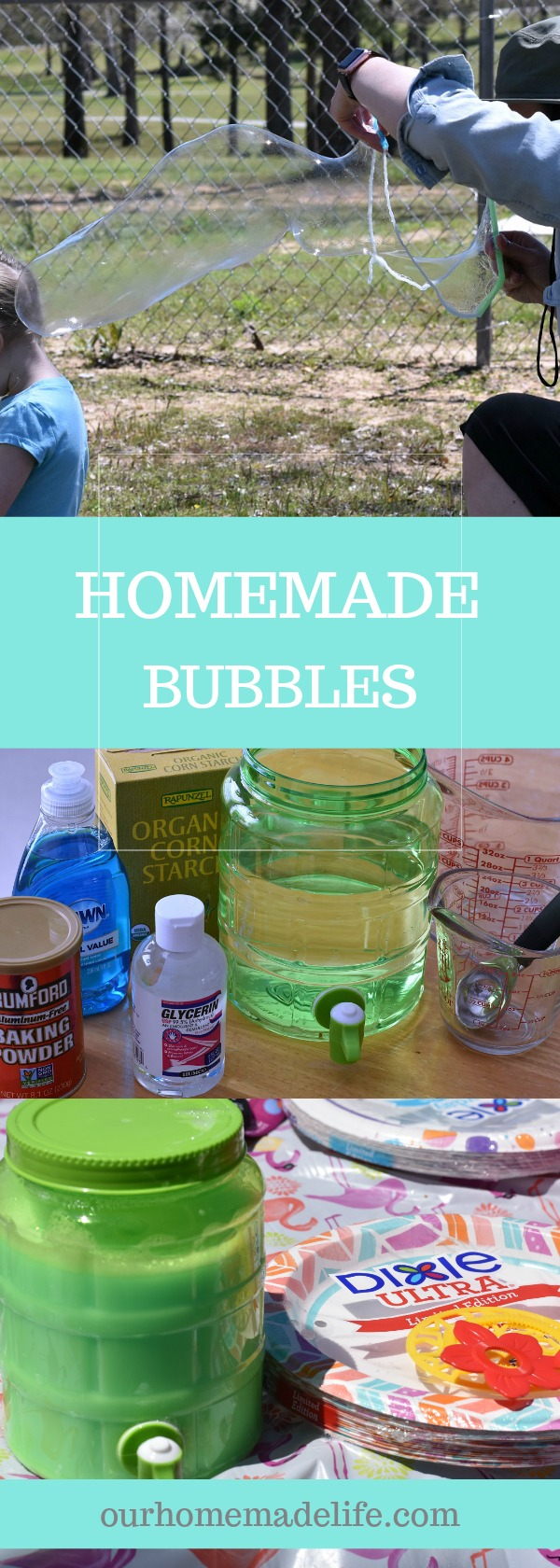 Homemade Bubbles with Simple Kitchen Ingredients - OurHomemadeLife.com