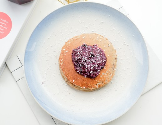 Healthy oat bran pancakes chia berry jam coconut