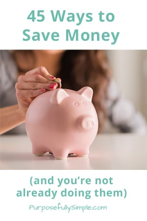 Discover some NEW ways to save money that you haven't thought of yet and being putting away cash towards your financial dreams. - Purposefully Simple