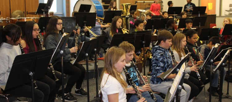 Band of students playing musical instruments