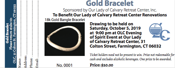 Gold Bangle Bracelet Raffle Ticket