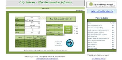 LIC plan presentation software premium calculator how to calculate maturity value lic policies