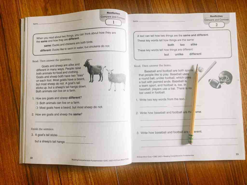 Activity pages in Reading Comprehension Fundamentals Grade 2