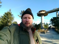 Jason in front of Clingmans Dome Tower at 6,684 feet in Smoky National Park