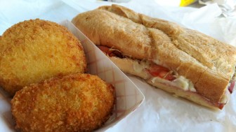 Broacatos Cuban sandwich, crab cake and potato ball