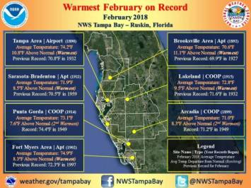 Many records set in February - Tampa Weather Service