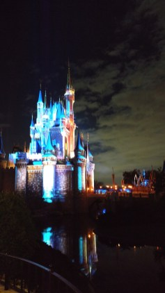 Cinderella Castle during evening fireworks at Magic Kingdom