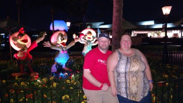 The three caballeros, Jason and Barb - topiaries at the Epcot flower and garden show