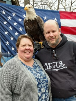 Barb and Jason with Liberty at the World Eagle Day at the World Bird Sanctuary