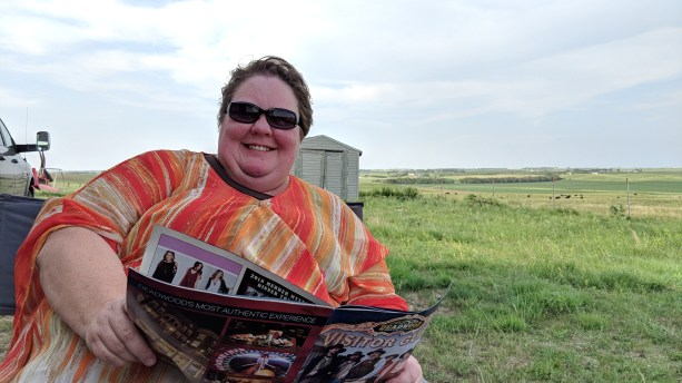 Barb planning head while at our first Harvest Hosts stop at the Porter Sculpture Park by Montrose, SD