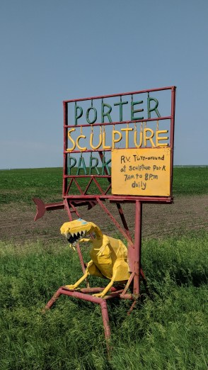 Watch for this sign on the road, marking the driveway to the Porter Sculpture Gardens