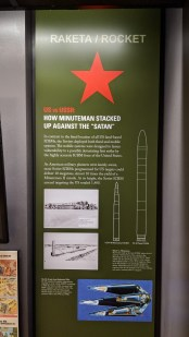 Comparison of the USSR's premiere missile to the USA's at the time of the Cold War height, exhibit at the Minuteman Missile Museum
