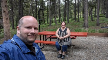 Jason and Barb at the Big Horn National Forest Campground, the equipment and the sites were well done
