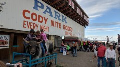 Kids and adults of all ages could pay to ride Mongo the bull at the Cody Nite Rodeo