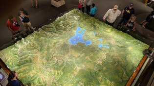 Looking from above on the balcony above the relief map of the entire park