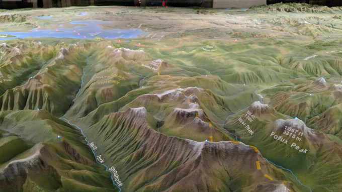 In the Canyon visitor center is a large relief map of the entire park, this is looking in over the East entry where the Shoeshone river traverses