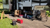 """Repacking and down-sizing again! The table and chairs that were original to the RV were stored at Jason's parents and now those are stored under in the """"basement"""" of the RV."""