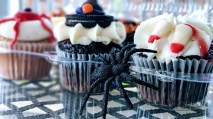 Barb's birthday cupcakes from the Bakery Cottage were overtaken by a spider, this years addition to the Halloween cake topper collection